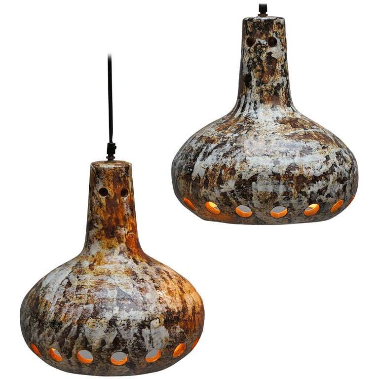 Pair of Ceramic Pendant Lamps