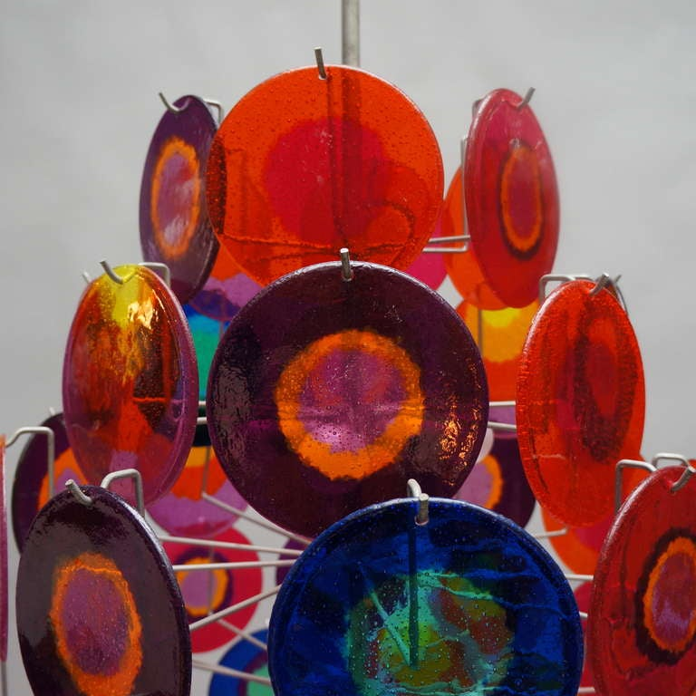 Large Chandelier with 64 Discs In Good Condition For Sale In Antwerp, BE