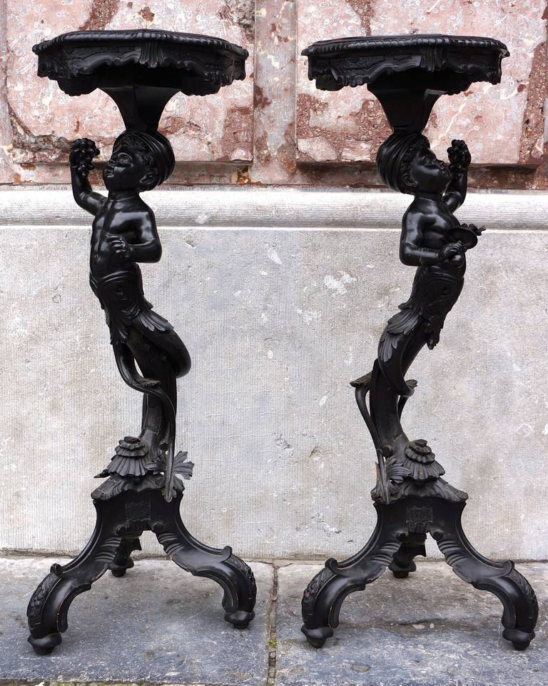 Napoleon III Charming Pair of Carved and Blackened, Pearwood Candle Stands For Sale