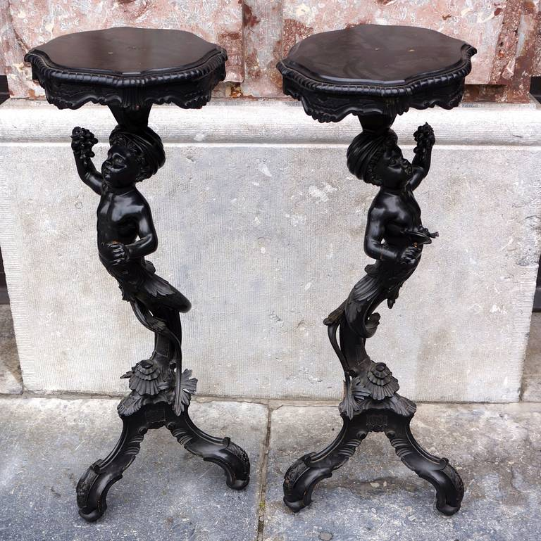 Italian Charming Pair of Carved and Blackened, Pearwood Candle Stands For Sale