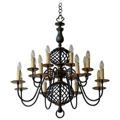 French Mid-Century Wrought Iron Chandelier, 1950s