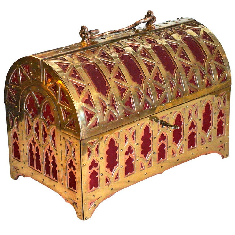 Fabulous Brass and Red Copper Gothic Revival Jewelry Casket 1