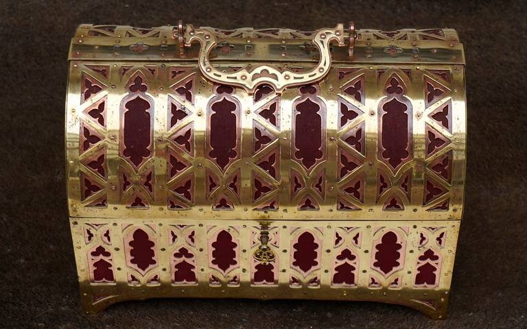 Fabulous Brass and Red Copper Gothic Revival Jewelry Casket 9