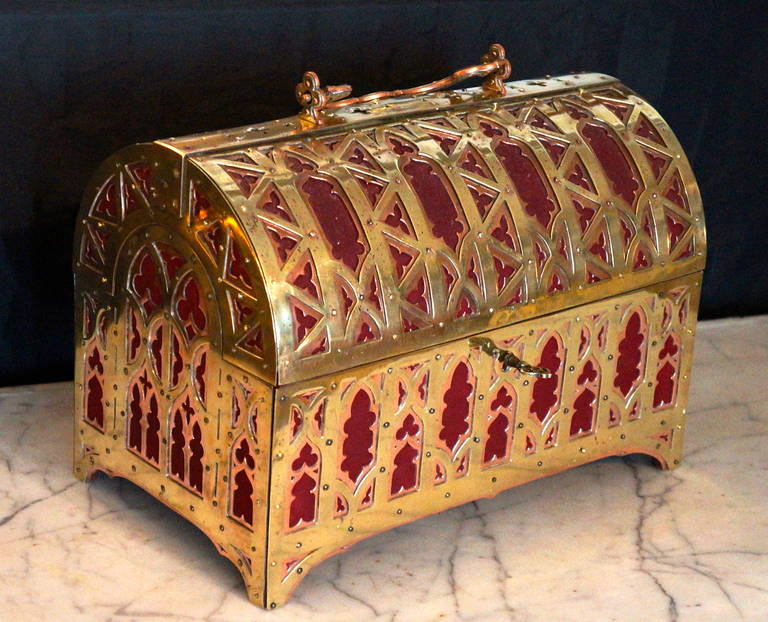 Fabulous Brass and Red Copper Gothic Revival Jewelry Casket 2