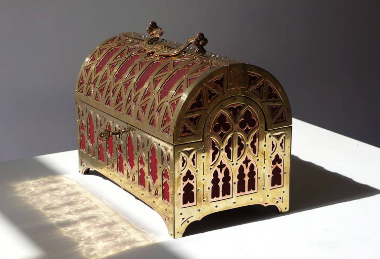 Fabulous Brass and Red Copper Gothic Revival Jewelry Casket 5