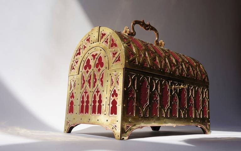 Fabulous Brass and Red Copper Gothic Revival Jewelry Casket 10