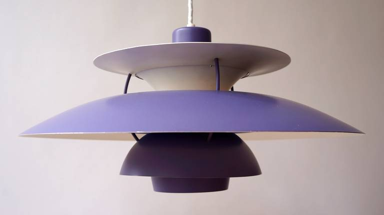 A vintage PH5 hanging lamp designed by Poul Henningsen for Louis Poulsen. First manufactured in 1957 for Louis Poulsen, this striking vintage PH5 Pendant is one of the most recognizable designs by Poul Henningsen. Original deep blue almost