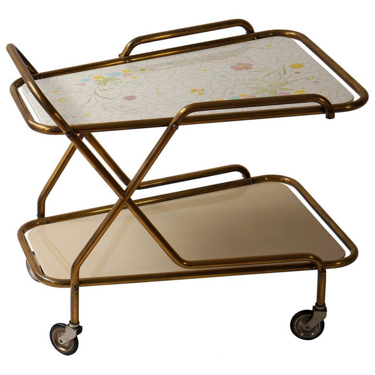 Italian Brass Serving Table or Liquor Trolley