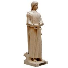 Lifesize Plaster Sculpture Representing Jeanne d'Arc
