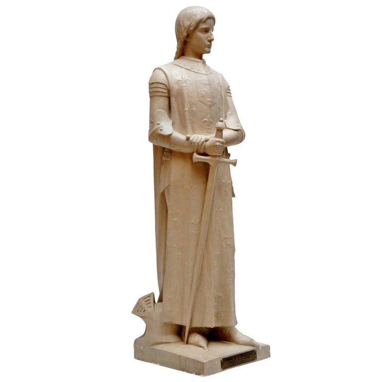 Lifesize Plaster Sculpture Representing Jeanne d'Arc For Sale