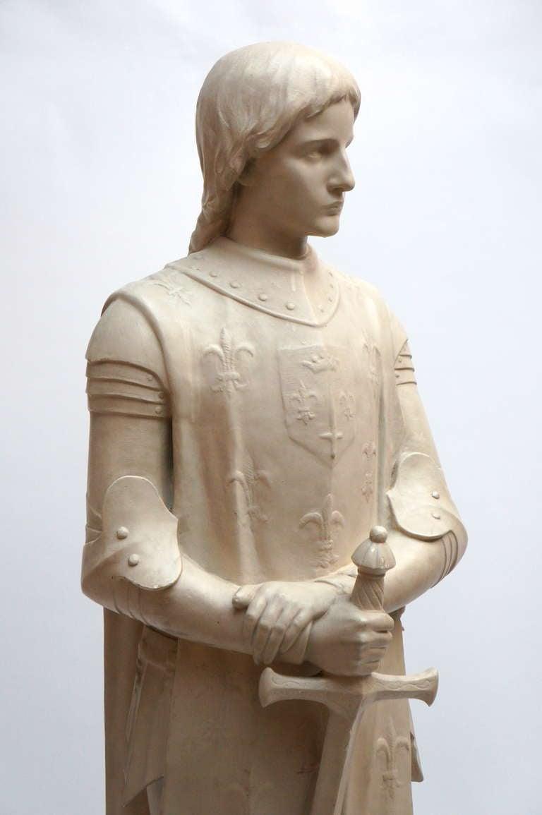 Art Deco Lifesize Plaster Sculpture Representing Jeanne d'Arc For Sale