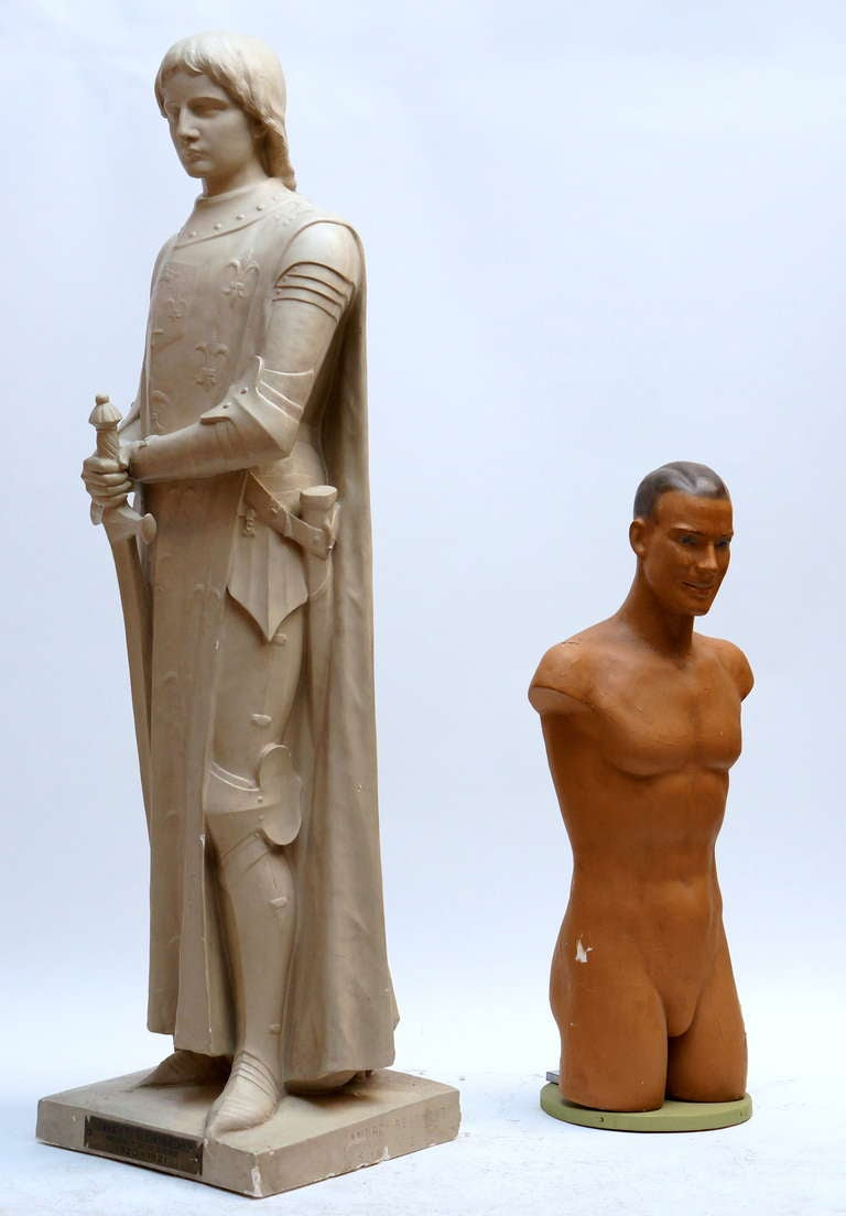 French Lifesize Plaster Sculpture Representing Jeanne d'Arc For Sale
