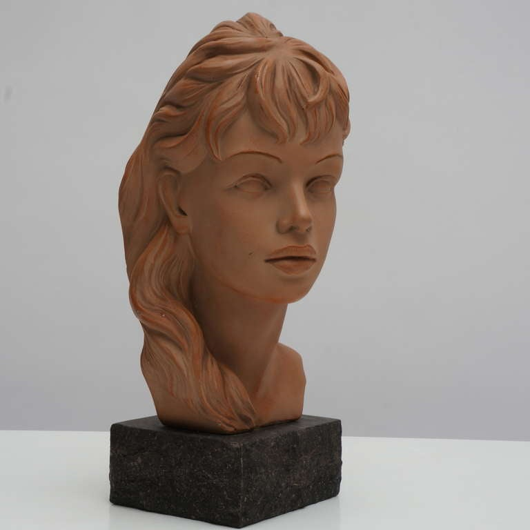 Mid-20th Century Terracotta Bust  For Sale