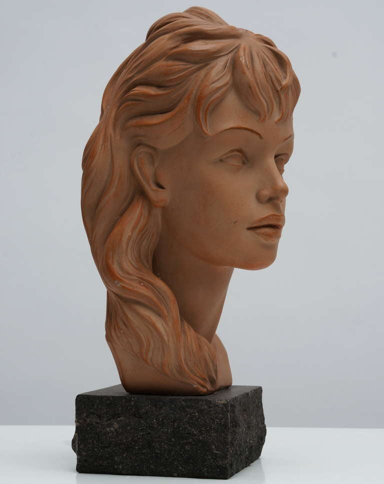 Mid-Century Modern Terracotta Bust  For Sale
