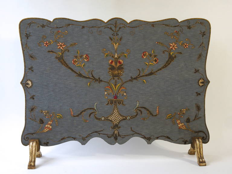 French Fire Screen with Gold Thread Decoration in Louis XVI Style 2