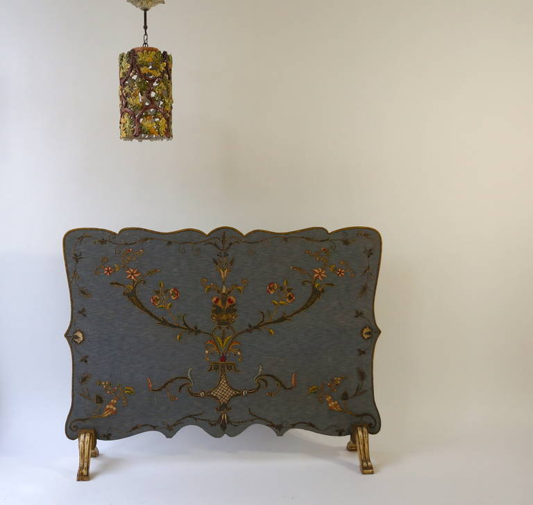 Upholstery French Fire Screen with Gold Thread Decoration in Louis XVI Style For Sale
