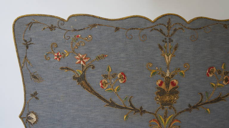 French Fire Screen with Gold Thread Decoration in Louis XVI Style 10