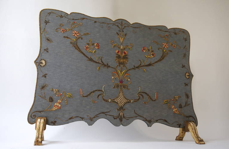 Mid-Century Modern French Fire Screen with Gold Thread Decoration in Louis XVI Style For Sale