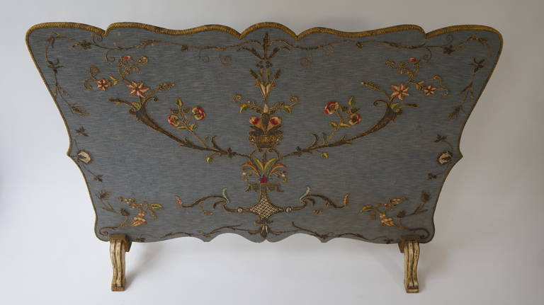 French Fire Screen with Gold Thread Decoration in Louis XVI Style 4