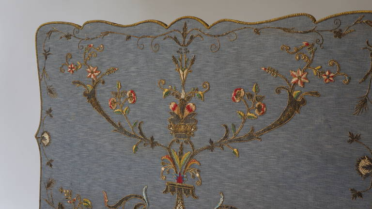 French Fire Screen with Gold Thread Decoration in Louis XVI Style 7