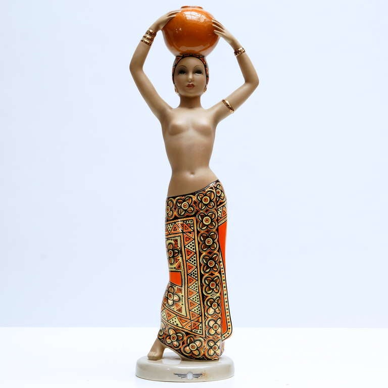 Very stunning large Art Deco Statue by Cia Manna, Torino, Italy. C.I.A. Manna Torino Lenci Nel Palmeto ceramic sculpture. Semi nude form of young woman. Worked for Lenci Ceramic Studios in Torino Italy. Height:56 cm. Diameter:20 cm.