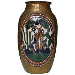 Copper Clad Ceramic Vase