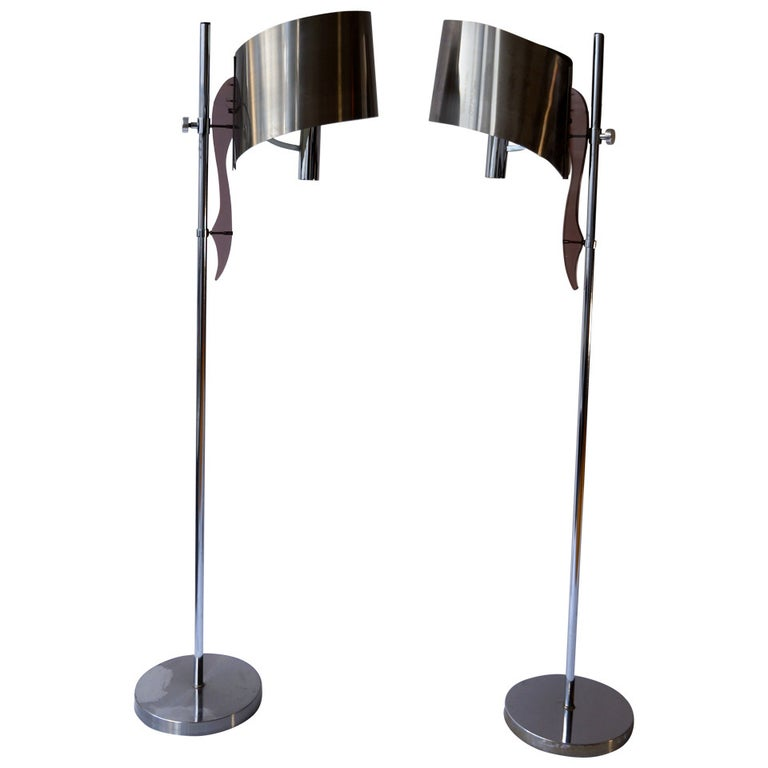 Pair of Maison Charles Floor Lamps with Curved Stainless Shades For Sale