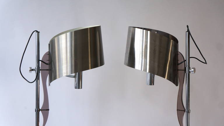 Mid-Century Modern Pair of Maison Charles Floor Lamps with Curved Stainless Shades For Sale