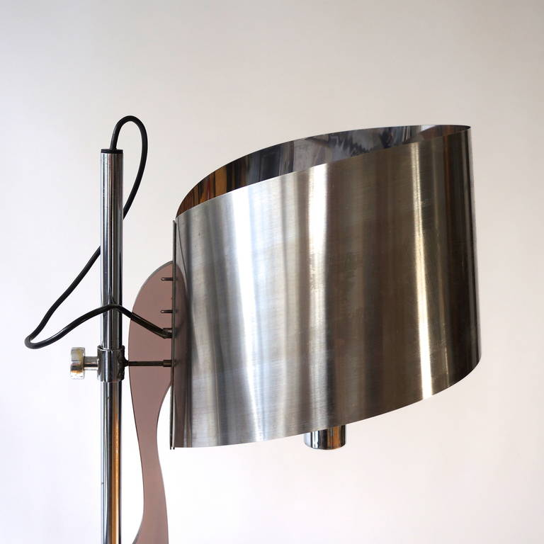 French Pair of Maison Charles Floor Lamps with Curved Stainless Shades For Sale