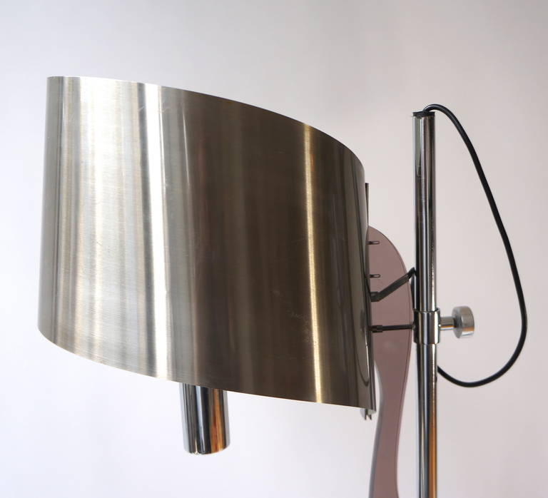 Pair of Maison Charles Floor Lamps with Curved Stainless Shades In Good Condition For Sale In Antwerp, BE