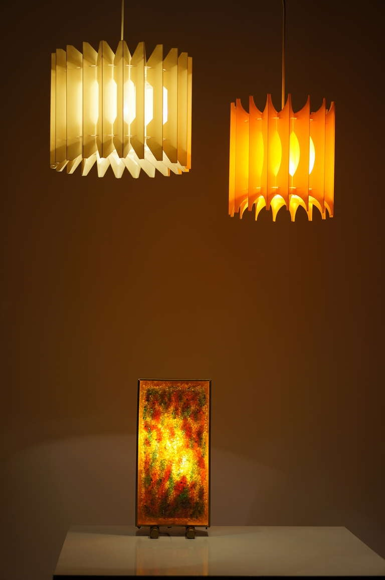 Plastic Pair of Pendant Lights For Sale