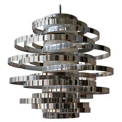 Polished Aluminium Chandelier Designed by Sciolari