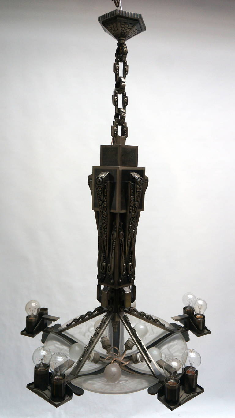 20th Century Large Bronze and Art Glass Art Deco Chandelier For Sale