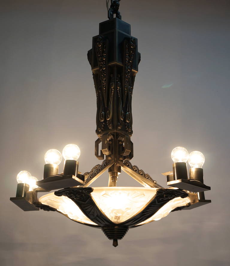 Large Bronze and Art Glass Art Deco Chandelier For Sale 2
