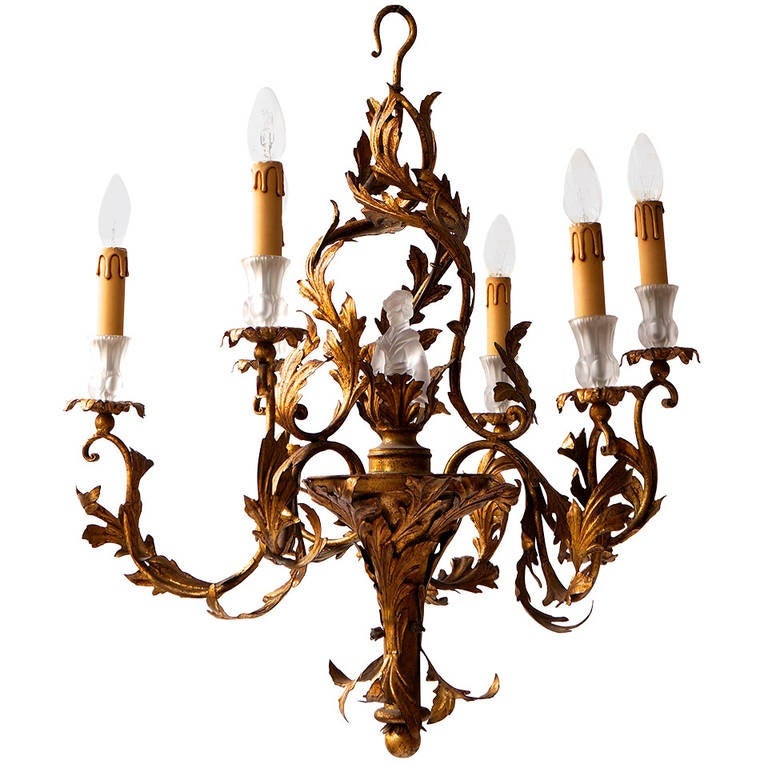 Gilt Wrought Iron Chinoiserie Style Chandelier