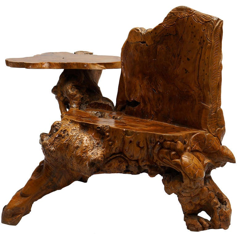Burl Wood Bench