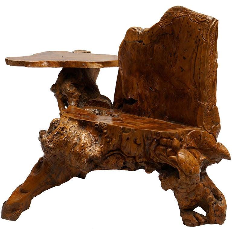 Burl wood bench at stdibs