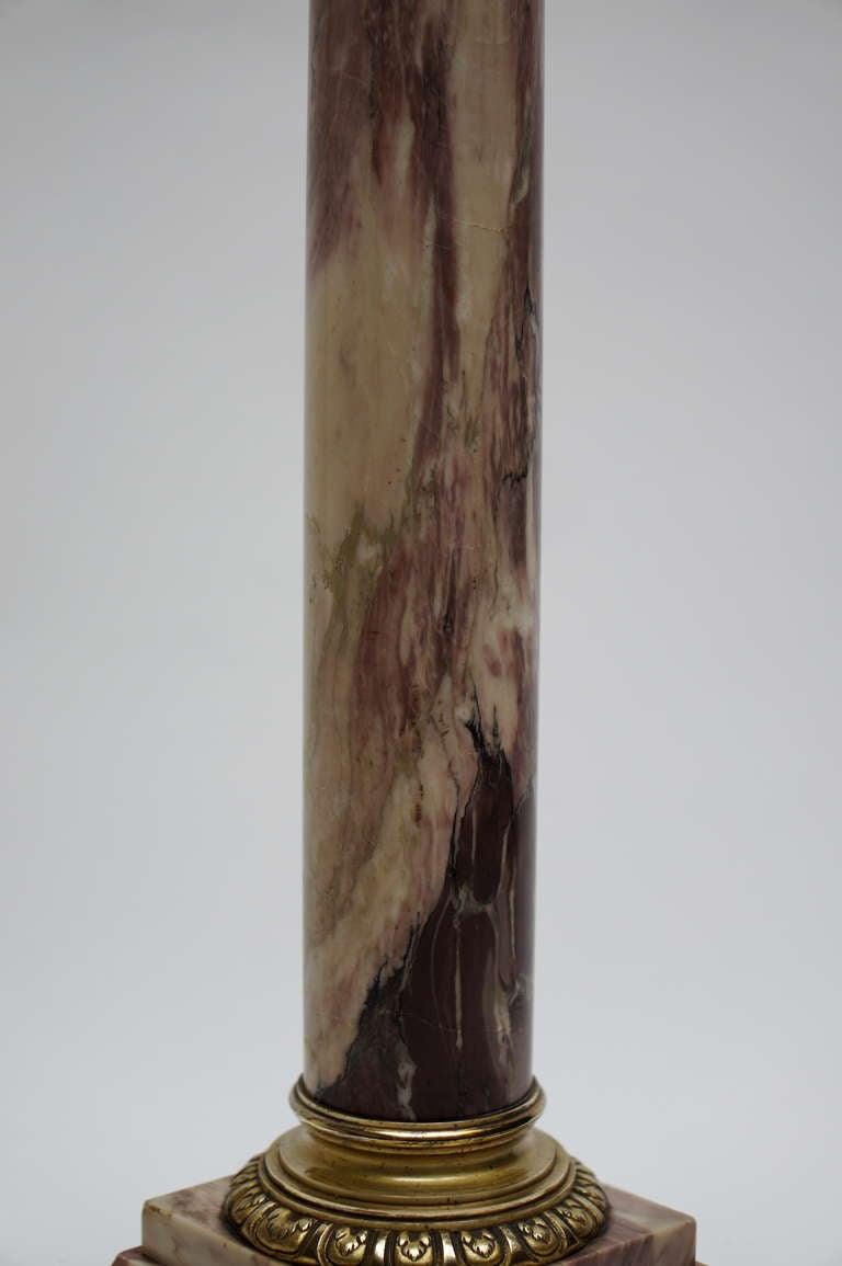 Renaissance Revival Italian Marble Column Pedestal with Corinthian Capital For Sale