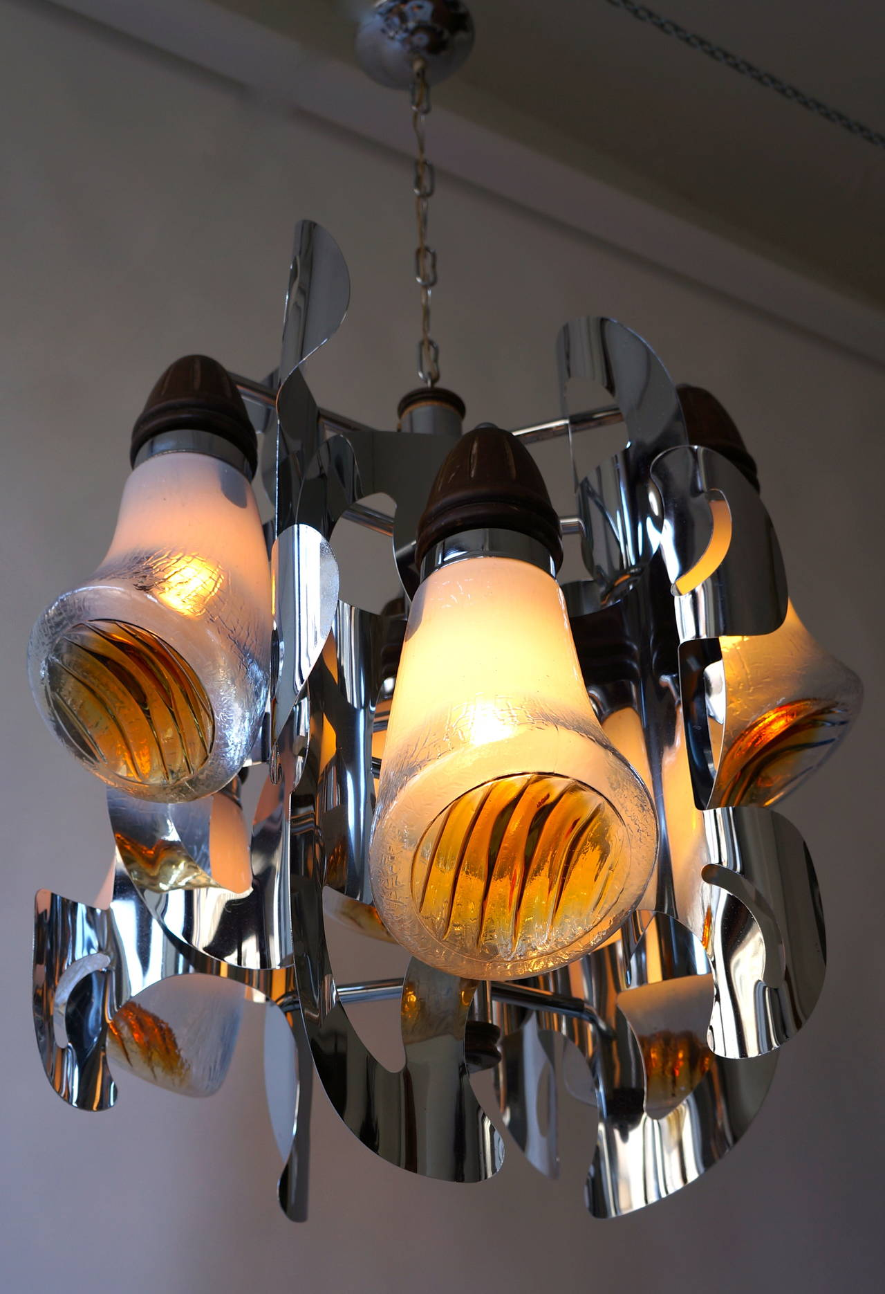 Mid-20th Century Mazzega Murano Chandelier For Sale