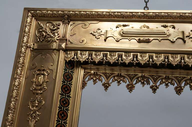 Napoleon III Antique French Bronze and Brass Fire Surround For Sale