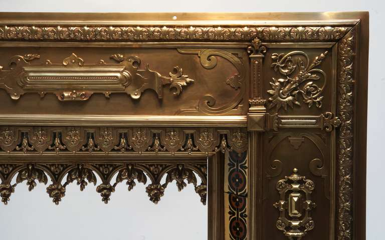 Copper Antique French Bronze and Brass Fire Surround For Sale