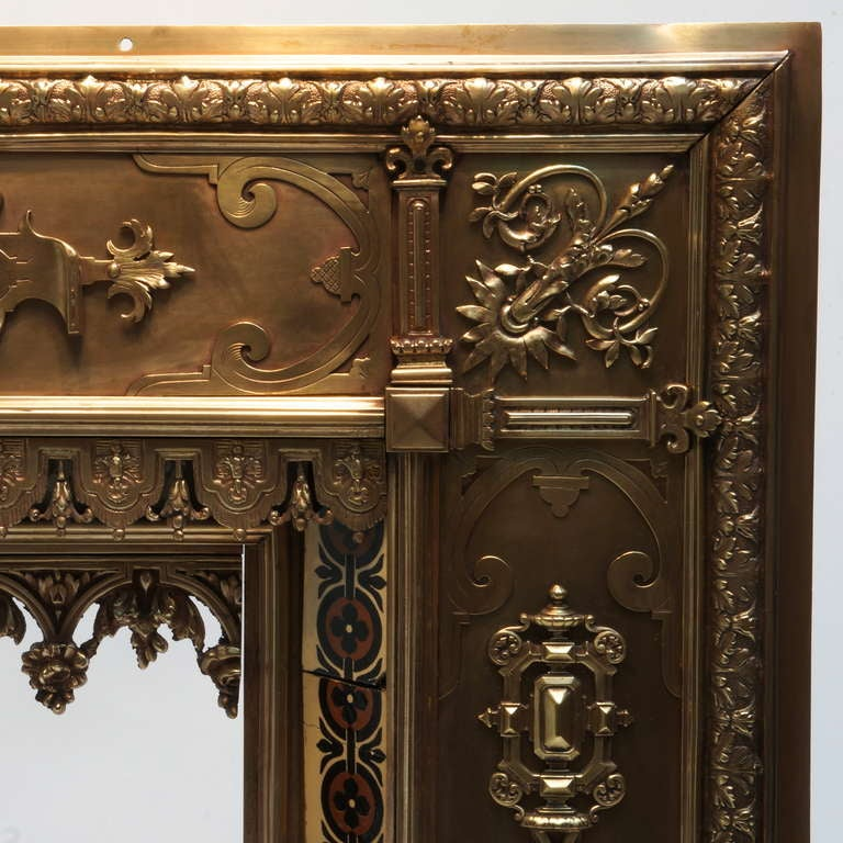 19th Century Antique French Bronze and Brass Fire Surround For Sale