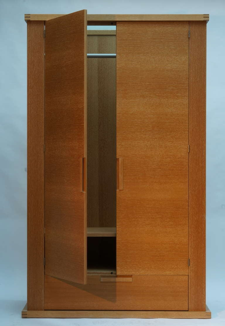 Mid-Century Modern French Limed Oak Armoire For Sale