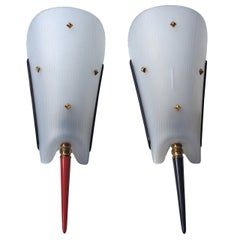 Pair of Celluloid and Brass Sconces