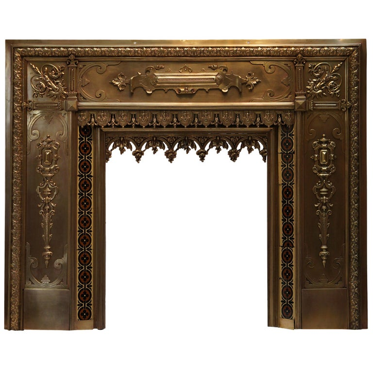 Antique French Bronze and Brass Fire Surround For Sale