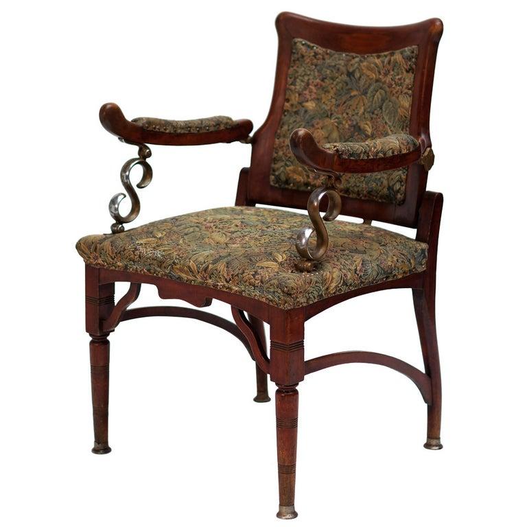 Italian Art Nouveau Barber Chair For Sale