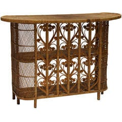 Vintage Italian Rattan Cocktail Bar
