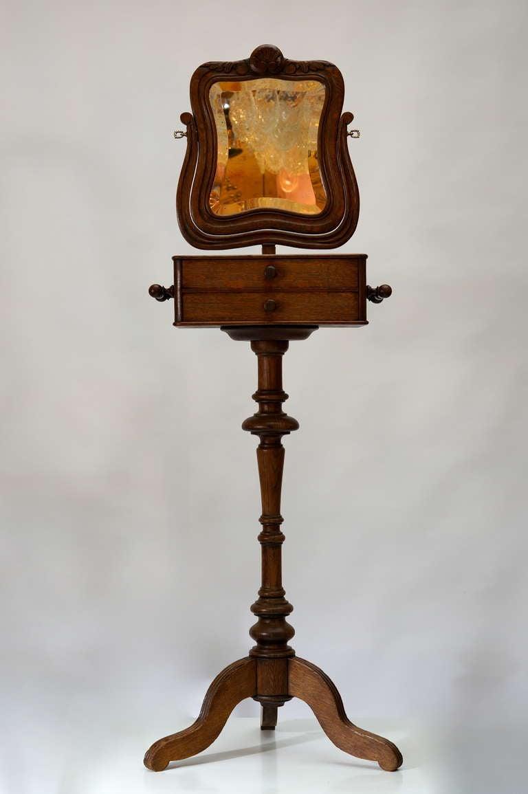 20th Century Standing Oak Mirror For Sale