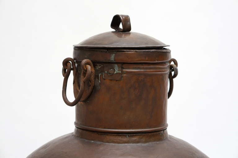 20th Century Tall Copper Covered Container For Sale