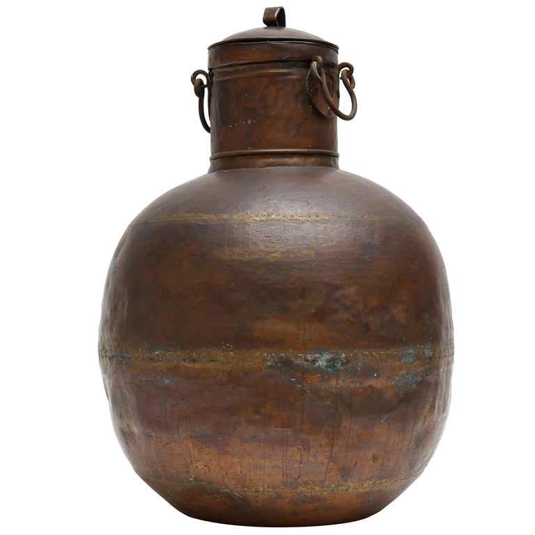 Tall Copper Covered Container For Sale